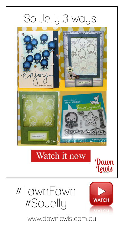 Dawn Lewis shows you how to use the tiny Lawn Fawn 'So Jelly' stamp set 3 very different ways. Click through for three video tutorials. Looking for Lawn Fawn in Australia? www.dawnlewis.com.au