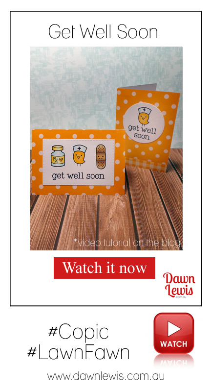 Dawn Lewis shows you how to use the Lawn Fawn 'Get Well Soon' stamp set to create a dozen mini cards. Looking for Lawn Fawn in Australia? Check out www.dawnlewis.com.au for amazing prices.
