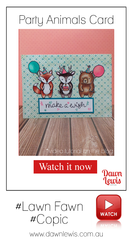 Dawn Lewis shows you how to make this fun card using Lawn Fawn 'Party Animals' stamps + Copic markers in this video tutorial. Looking for Lawn Fawn + Copic in Australia? Check out www.dawnlewis.com.au