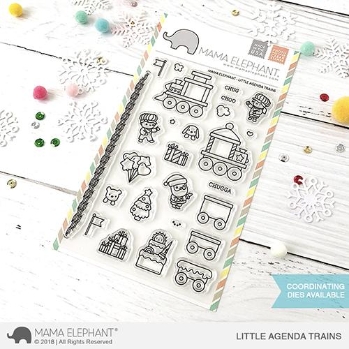Mama Elephant Little Agenda Trains stamp set, Australia