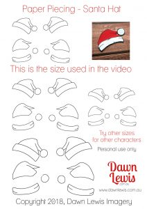 Paper Piecing santa hat video tutorial, Kindred Stamps