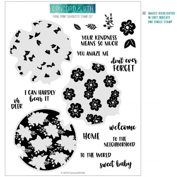 Concord & 9th, Floral Print Silhouette stamp set, Australia