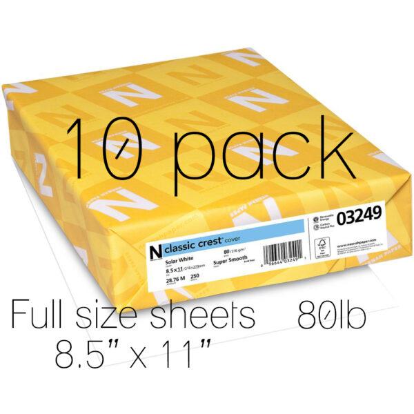 Neenah Classic Crest Solar White 80lb full sheet 10pk, Australia