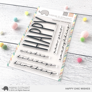 Mama Elephant, Happy Chic Wishes stamp set, Australia