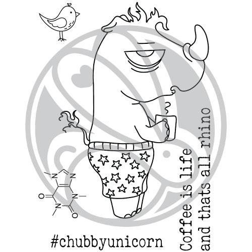 Rabbit Hole Designs, Caffeinated Rhino stamp set, Australia