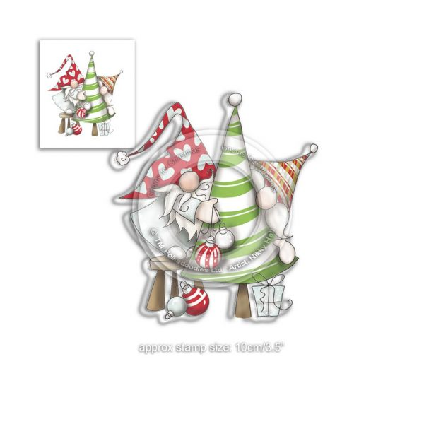 Polkadoodles, Gnome Decorating the Tree stamp set, Australia