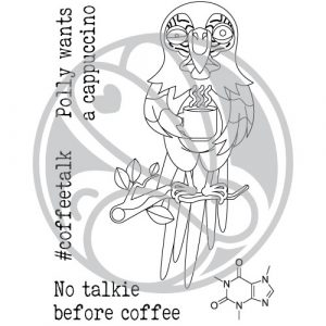 Rabbit Hole Design, Caffeinated Parrot stamp set, Australia