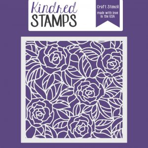 Kindred Stamps, Stained Glass Rose stencil, Australia